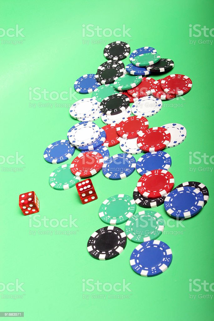 Poker chips and dices royalty-free stock photo