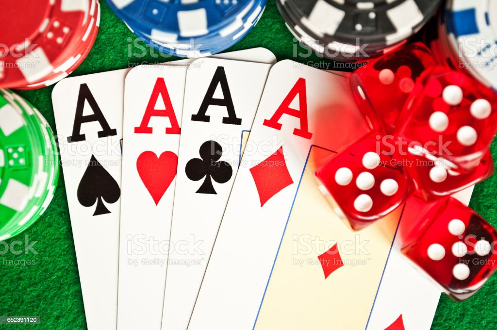 Poker chips cards and dices stock photo
