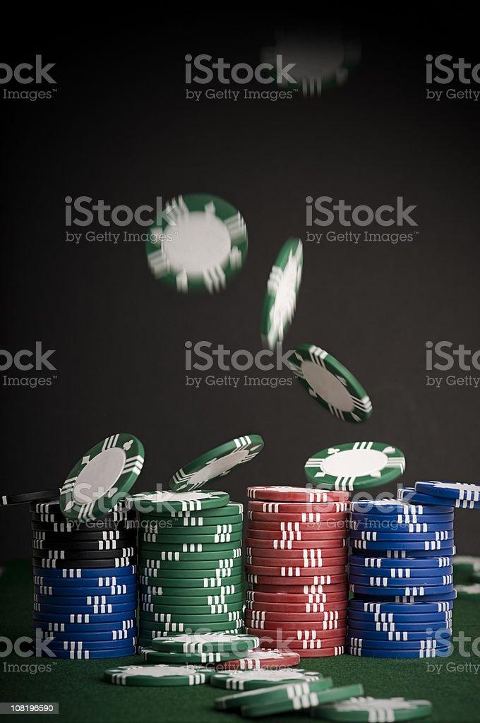 Poker Chips Falling royalty-free stock photo