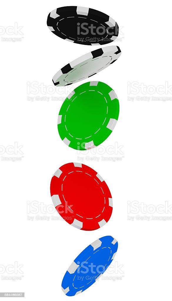 Poker chips falling stock photo