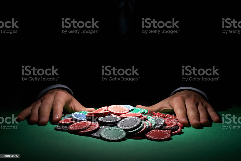 Poker chips, large sum concept stock photo