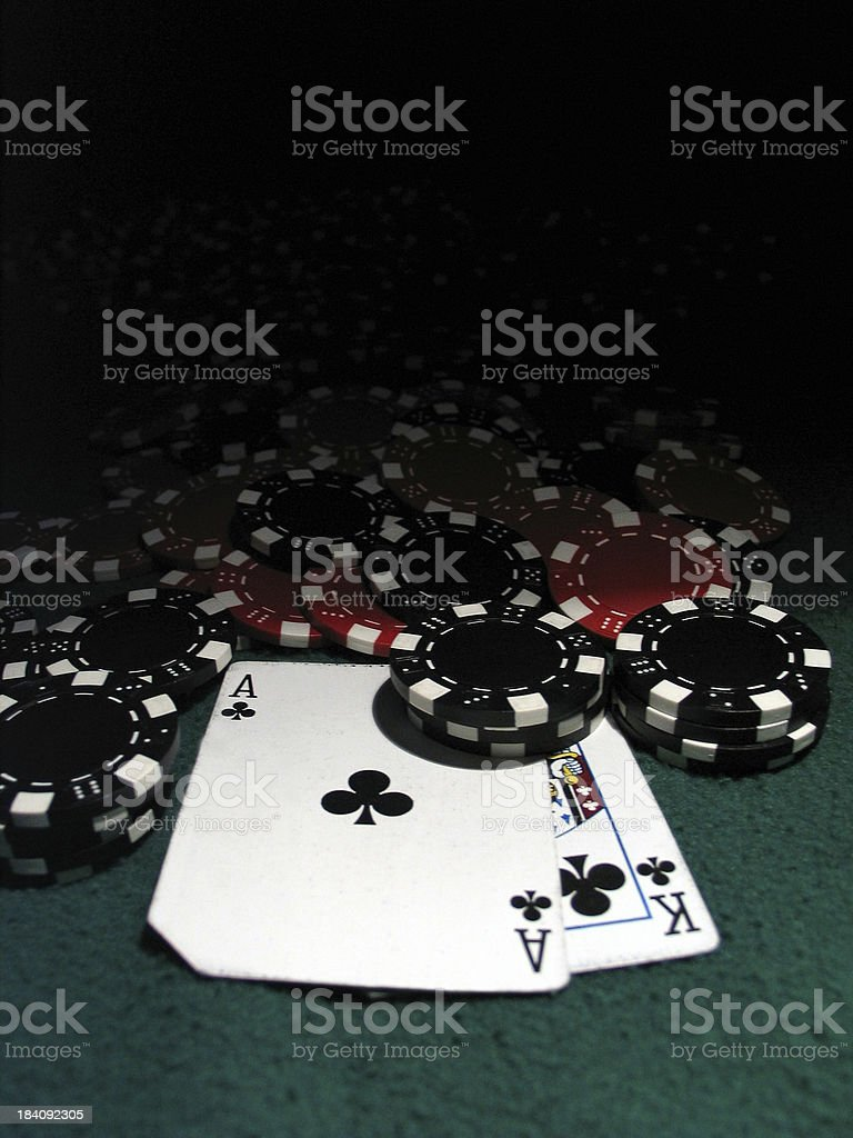 poker chips w AK stock photo