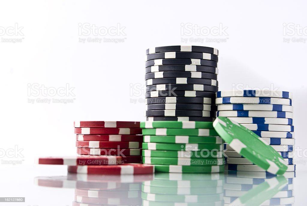 Poker chips with reflection low angle stock photo