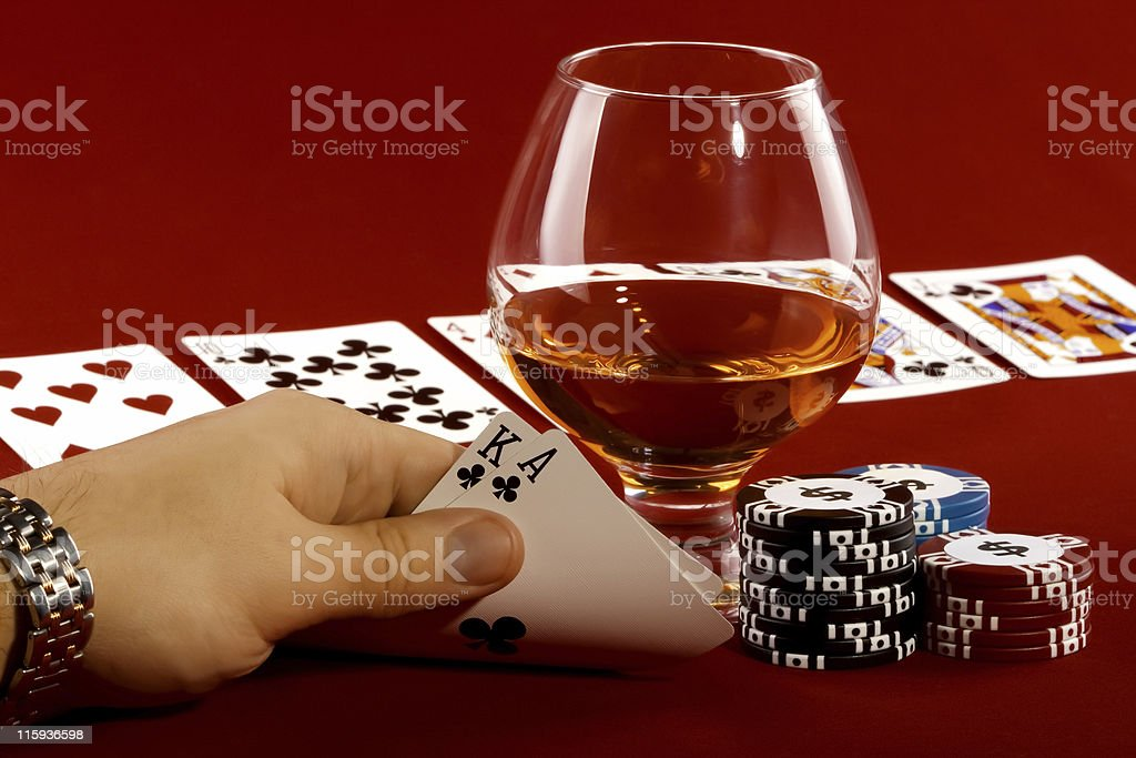 Poker chips with royal flush. royalty-free stock photo