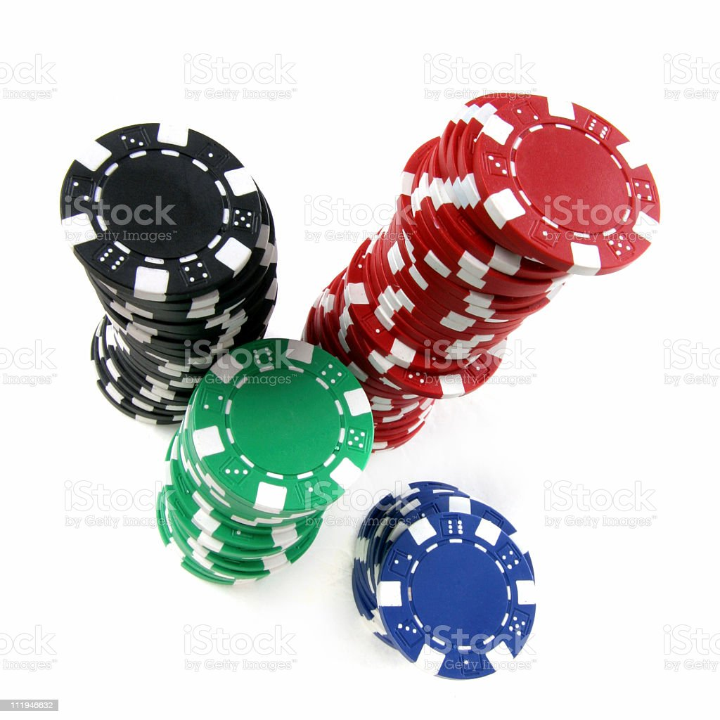 poker chips with wide angle royalty-free stock photo