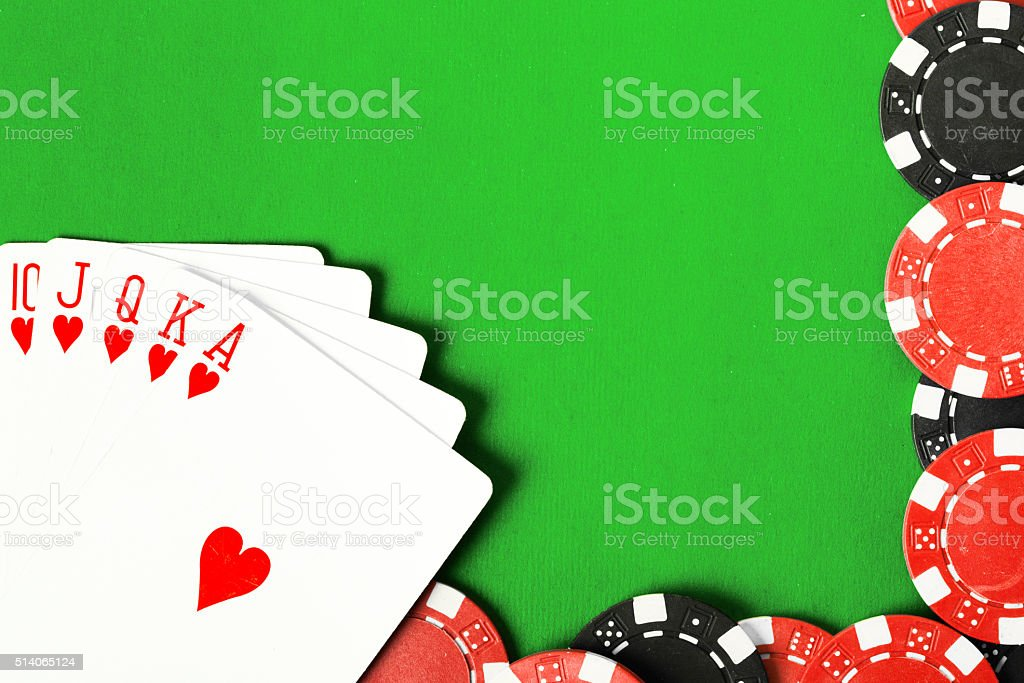 Poker cloth, a deck of cards stock photo
