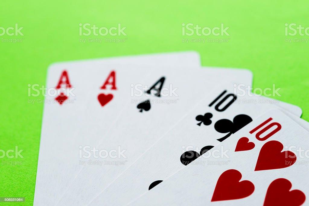 Poker full house closeup stock photo
