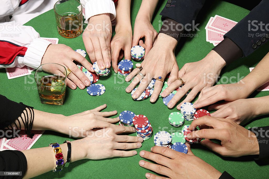 Poker gamblers betting stock photo