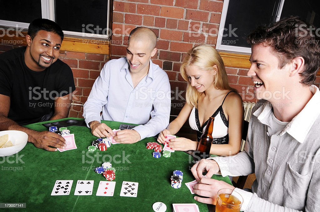 Poker Game Series: Four Friends at a Table royalty-free stock photo