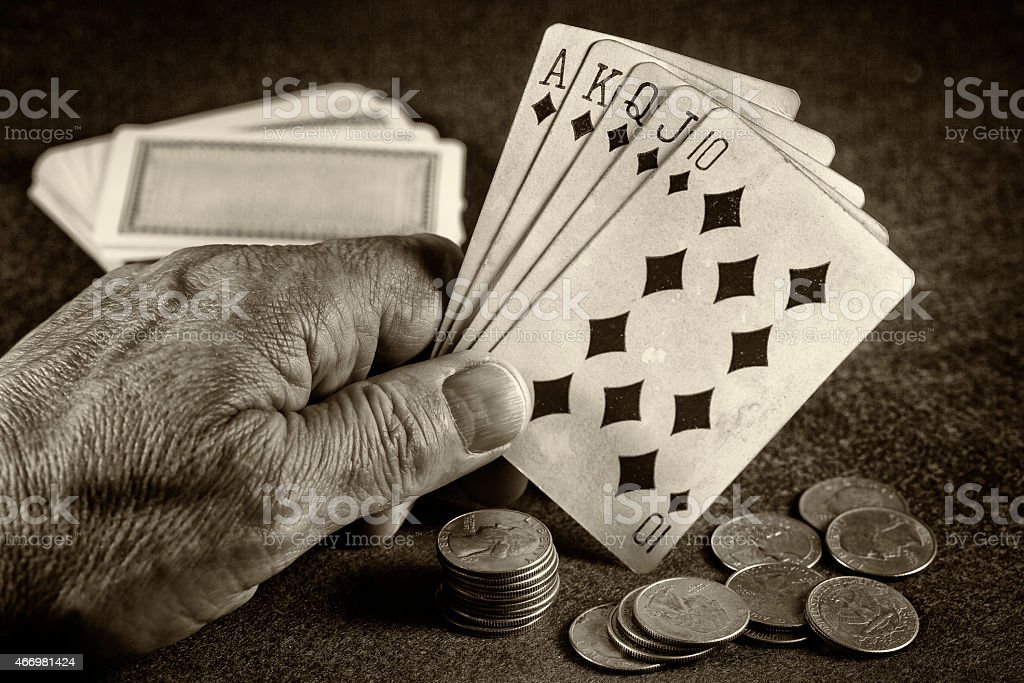Poker hand a Royal flush stock photo
