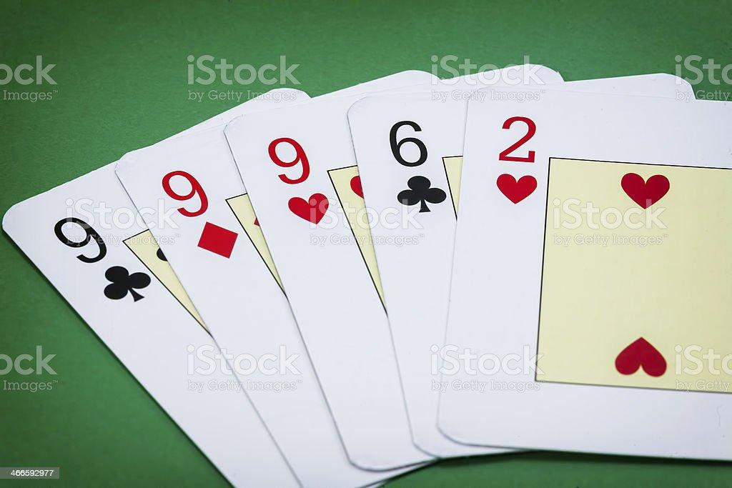 Poker hand call la Tercia stock photo