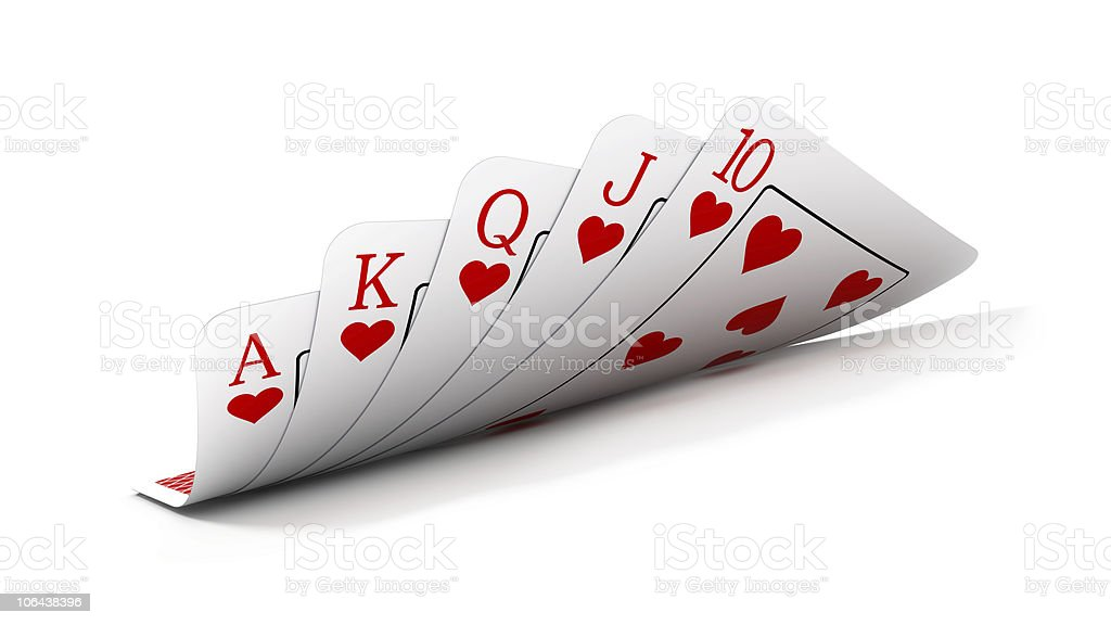 Poker hand of royal flush with heart suit stock photo