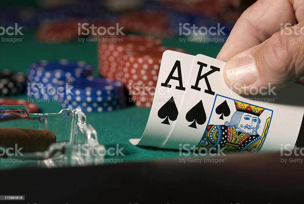 Poker hand royalty-free stock photo