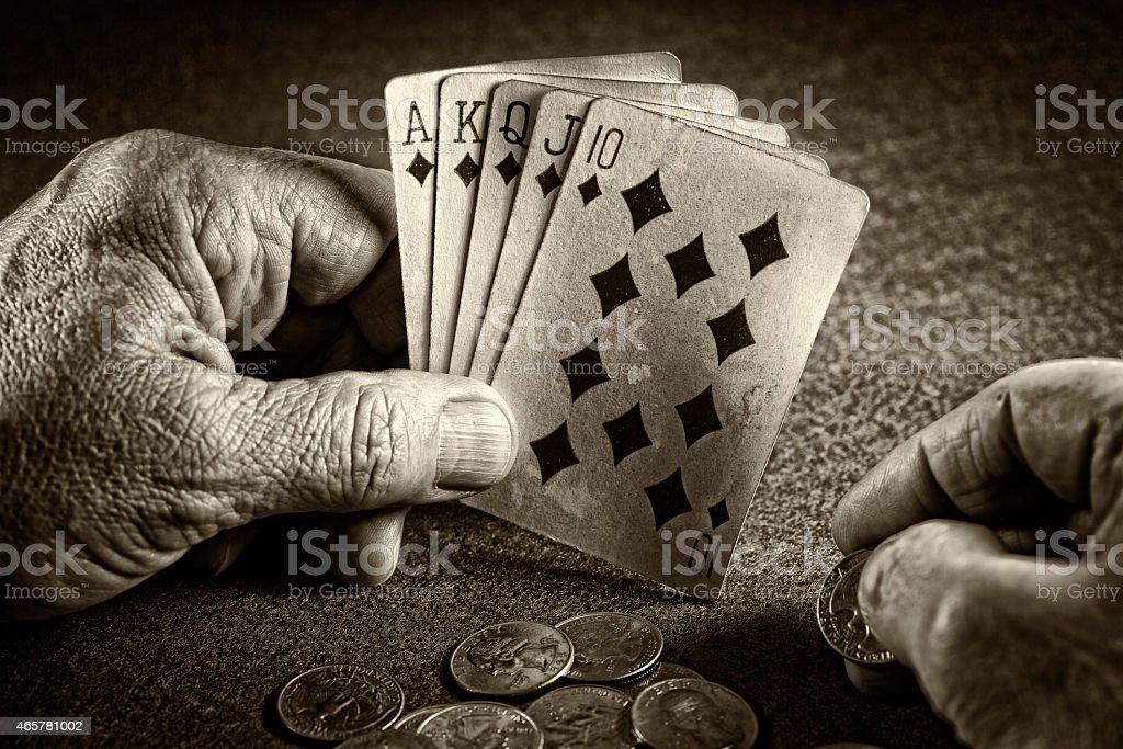 Poker hand stock photo