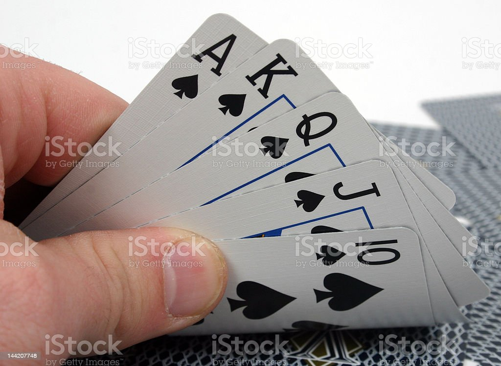 Poker hand, royal flush royalty-free stock photo