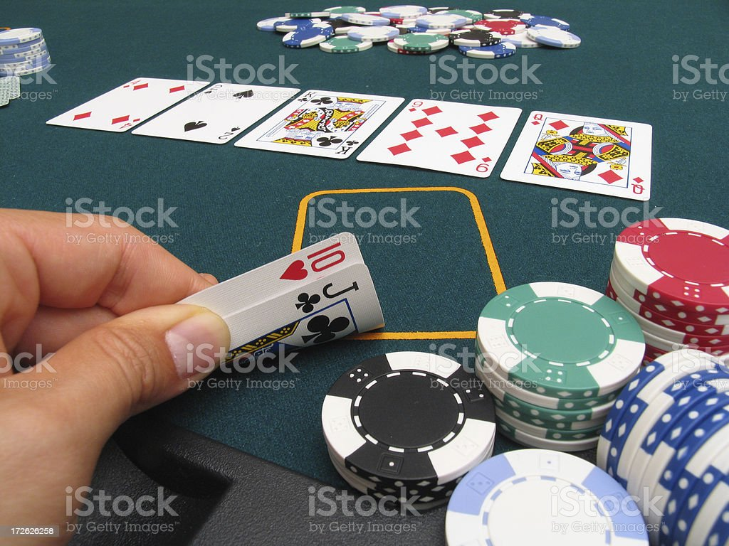 Poker Hand #6 - Straight stock photo
