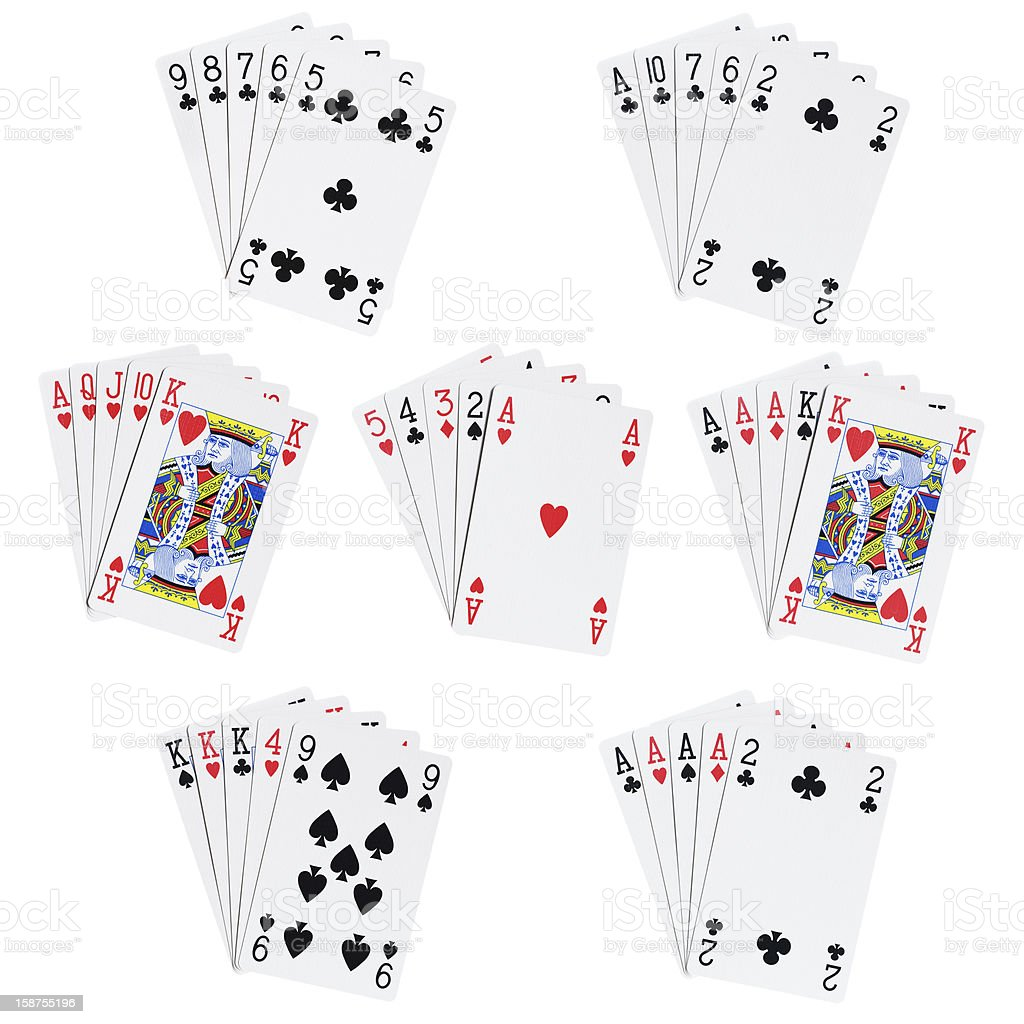Poker hands stock photo