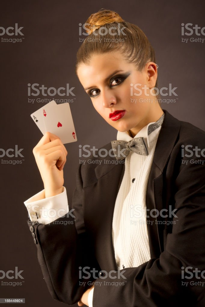 Poker holdem tuxedo girl stock photo