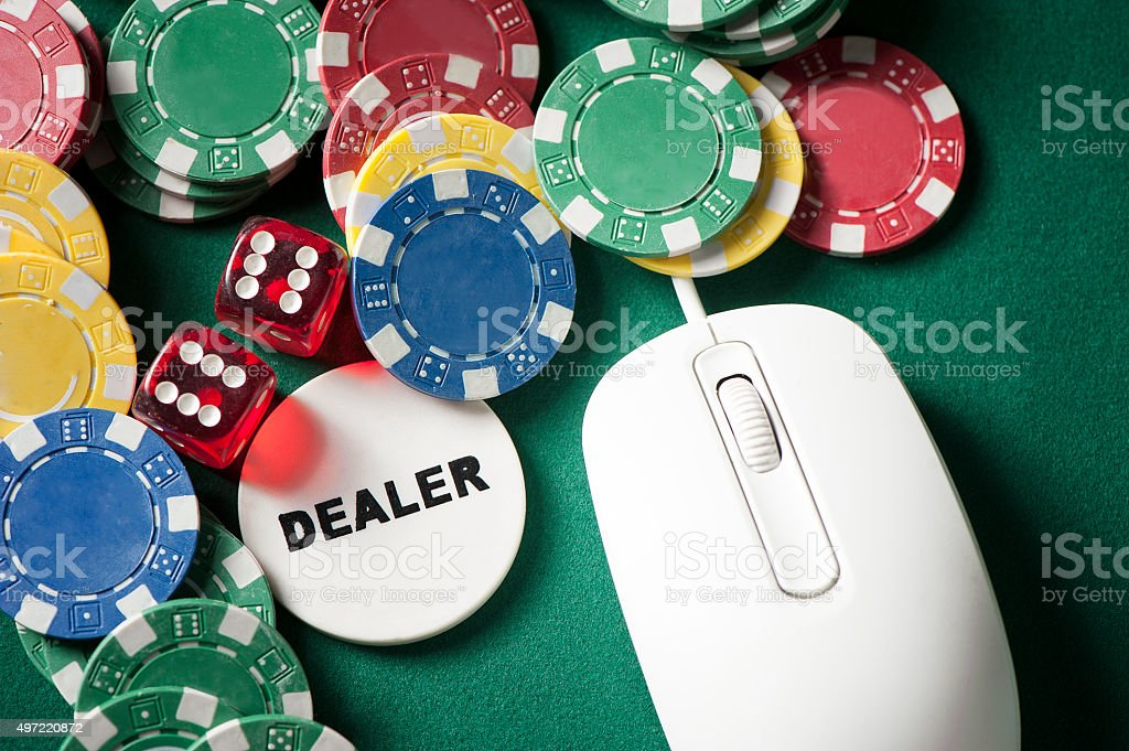 Poker on line stock photo