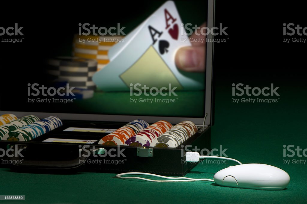 Poker on-line stock photo
