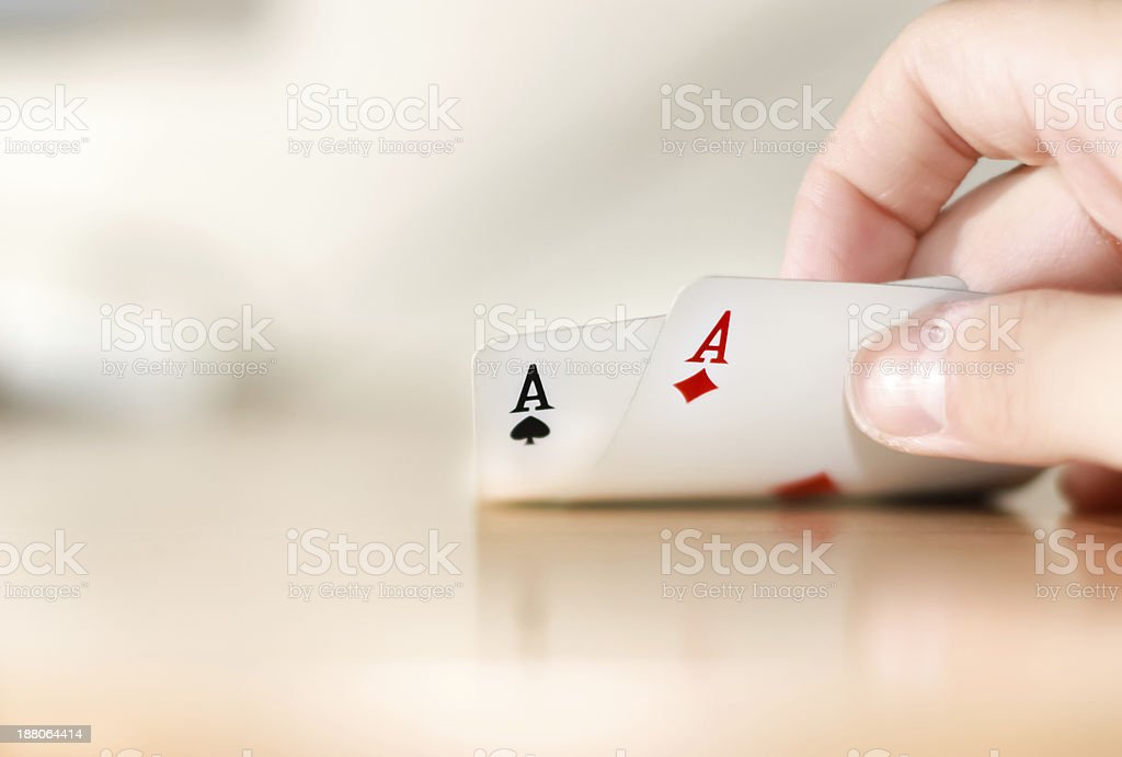 Poker pair of aces stock photo