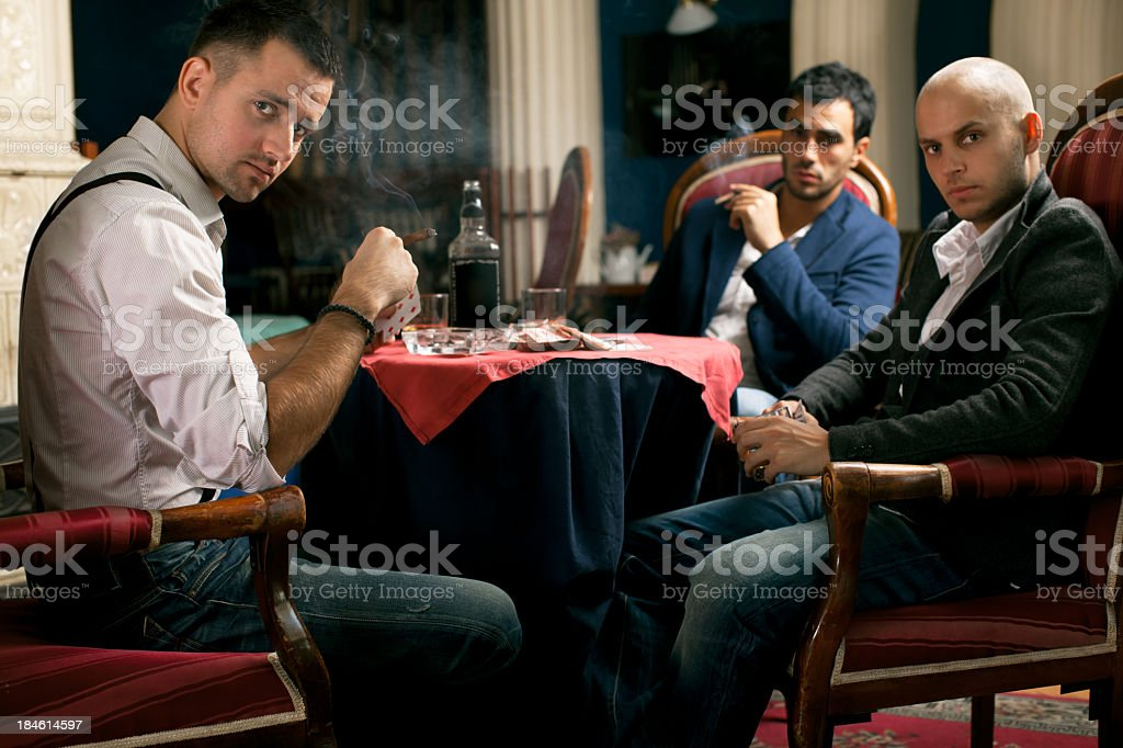 Poker players stock photo