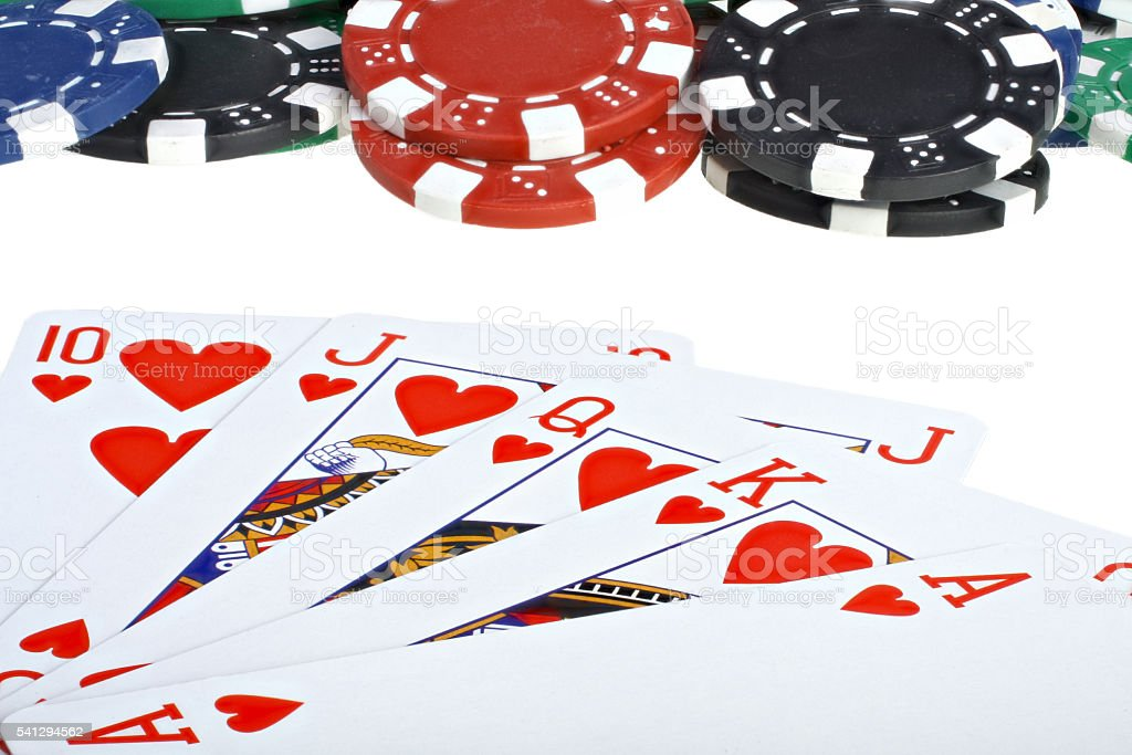 Poker playing cards and chips stock photo