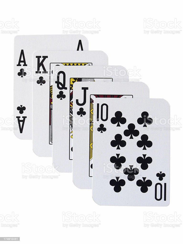 Poker - Royal Flush Clubs royalty-free stock photo