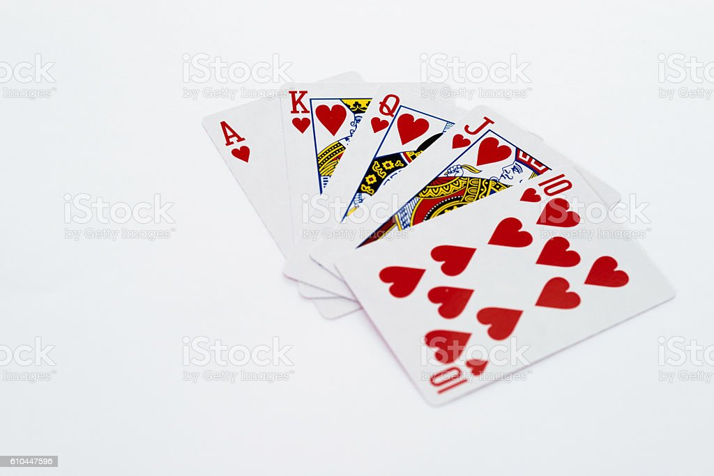 Poker royal flush stock photo