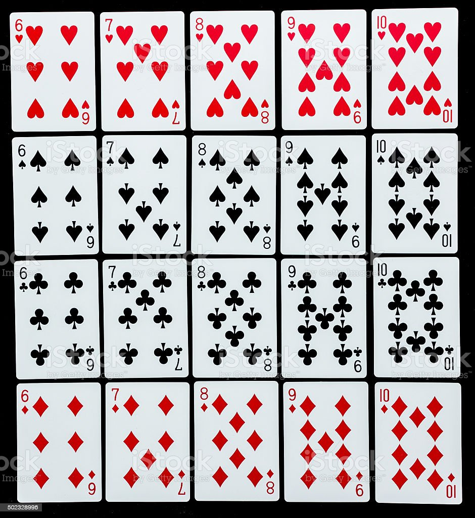 Poker set with isolated cards on black background stock photo