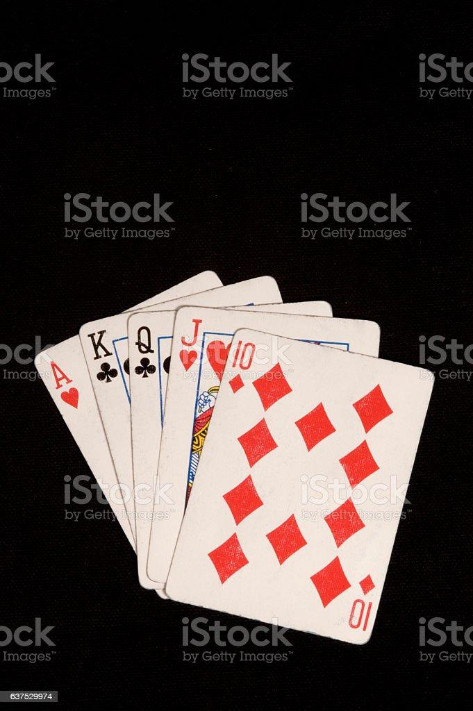 Poker Straight Hand stock photo