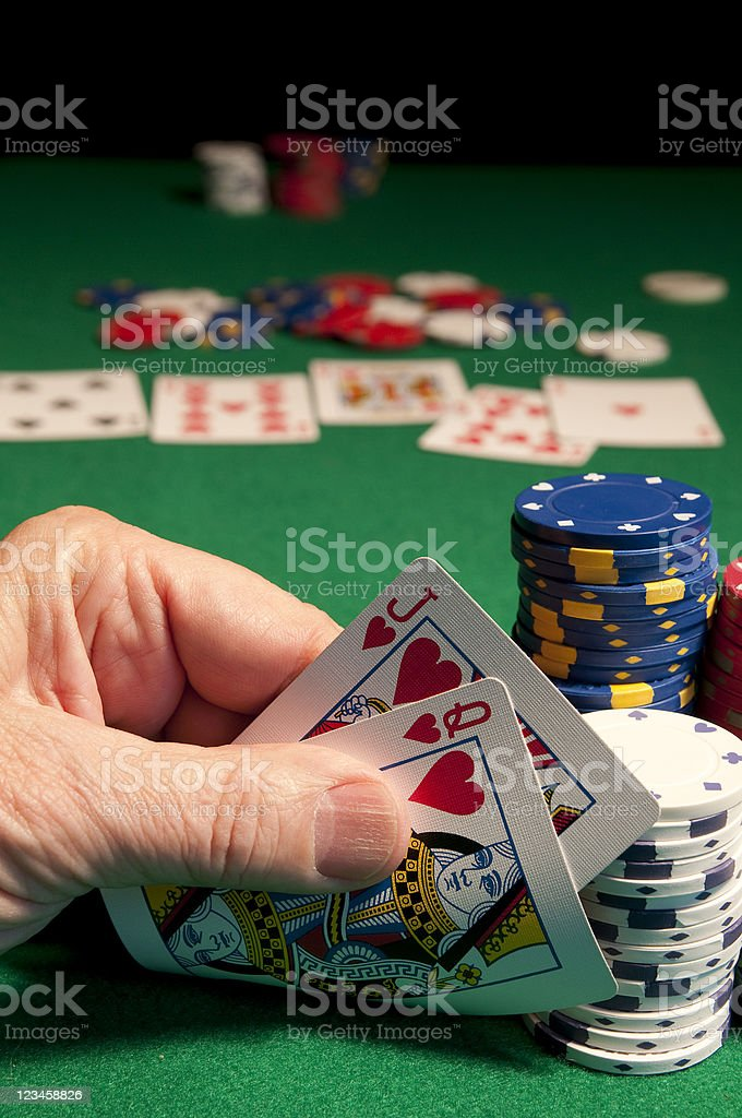 Poker Table Jack and Queen stock photo