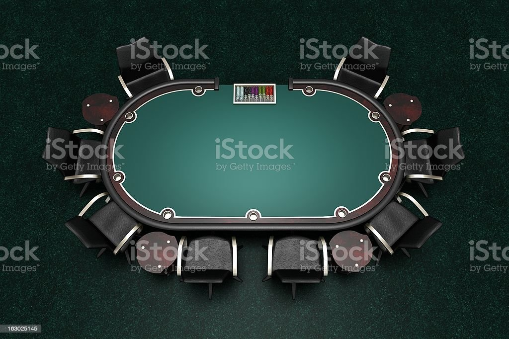 Poker table with chairs stock photo