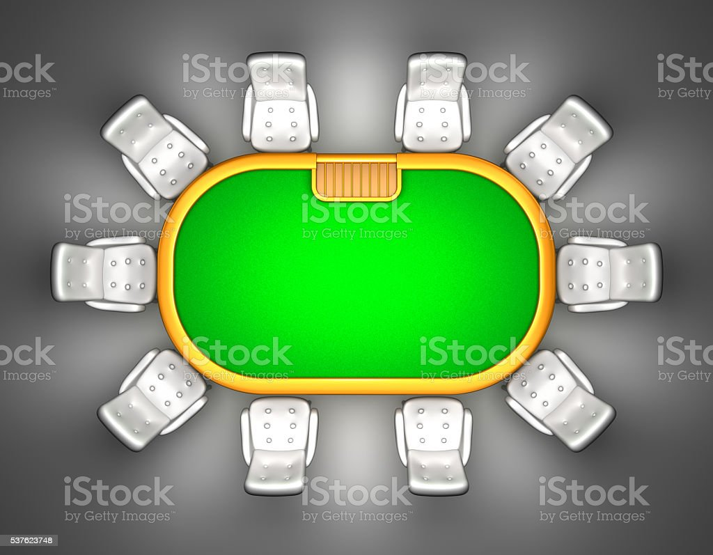 Poker table with chairs top view isolated on black stock photo