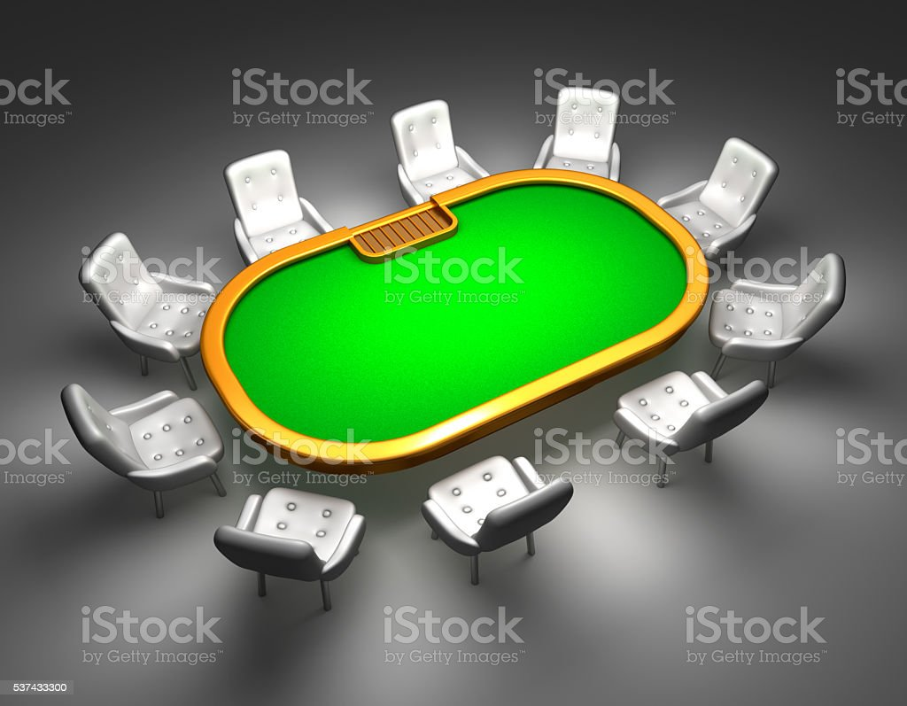 Poker table with chairs top view isolated on white stock photo