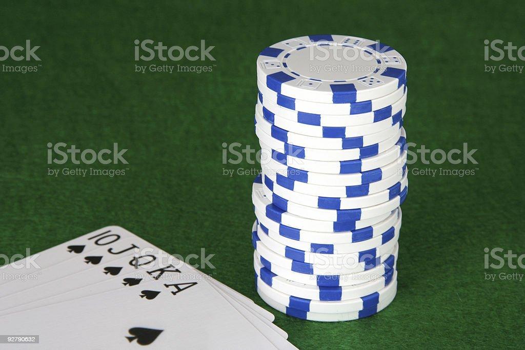 Poker: White Chips & Royal Flush stock photo