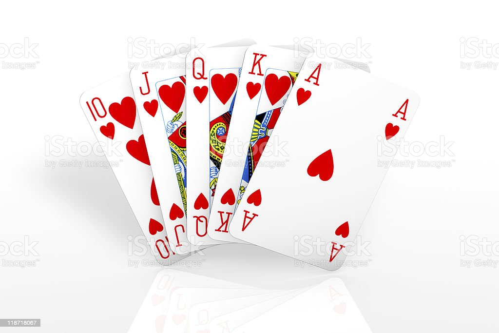 Poker winning hand isolated over a white background. royalty-free stock photo