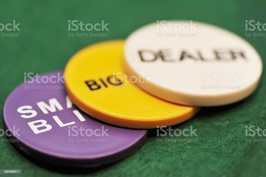 pokerchips blinds and dealer button royalty-free stock photo