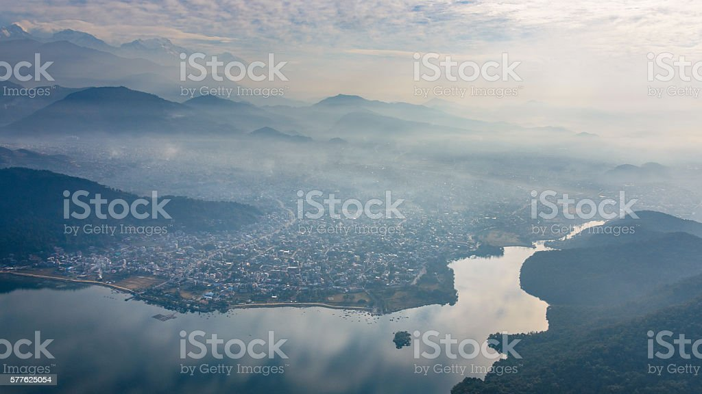 Pokhara aerial view in Nepal stock photo
