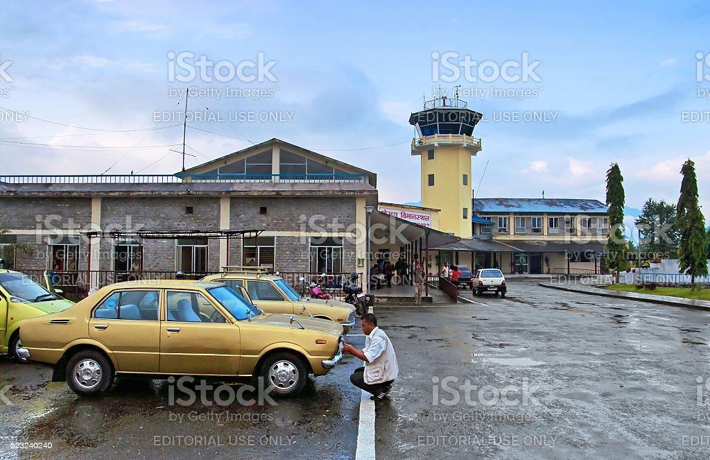 Pokhara airport in the rainy morning, Nepal stock photo