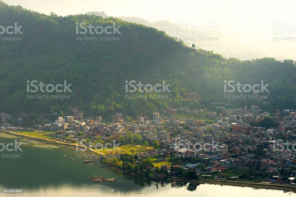 Pokhara City from World Peace Pagoda stock photo