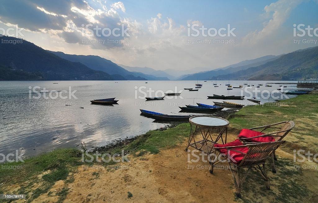 Pokhara lake stock photo