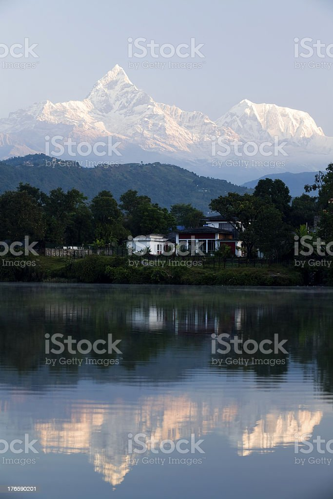 Pokhara Phewa Lake Machapuchare royalty-free stock photo