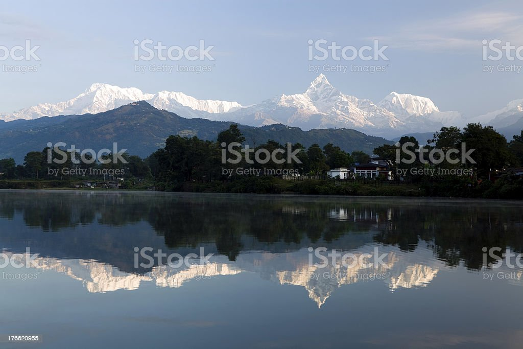 Pokhara Phewa Lake Machapuchare royalty-free stock photo