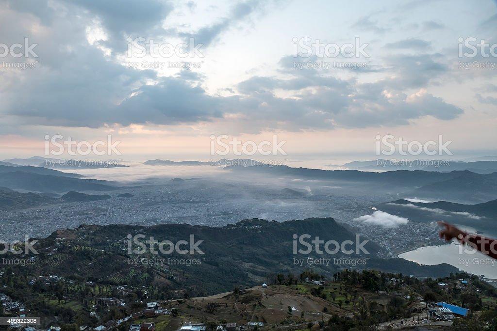 pokhara sunrise stock photo