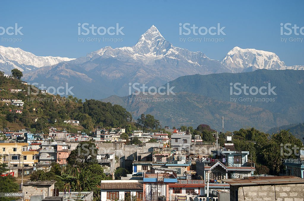 Pokhara with Machapuchare mountain stock photo