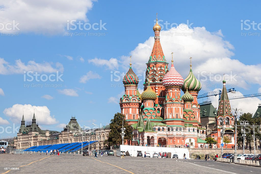 Pokrovsky Cathedral, Vasilevsky Descent in Moscow stock photo