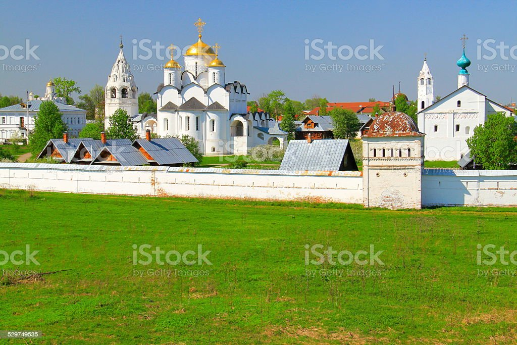 Pokrovsky Monastery - Orthodox Intercession Cathedral, Suzdal, Russia stock photo