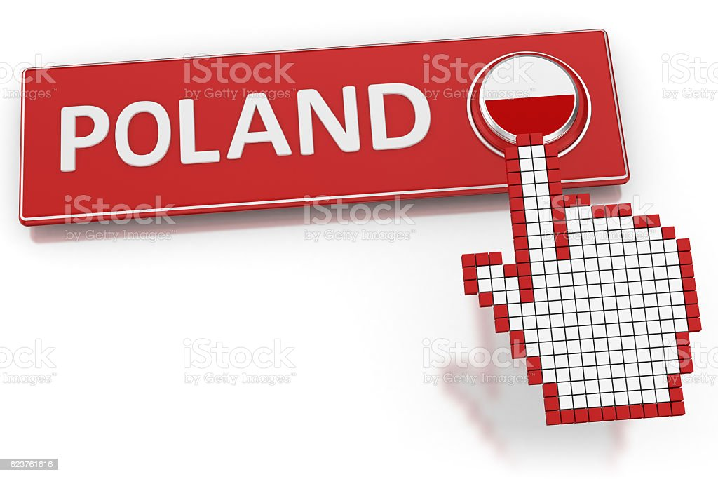 Poland - Button stock photo