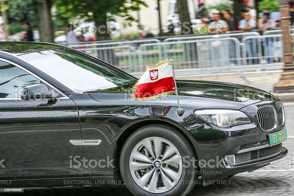 Poland Diplomatic car during Military parade stock photo